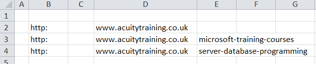 Excel For SEO - Ch 2 - 14 Text To Column - Result