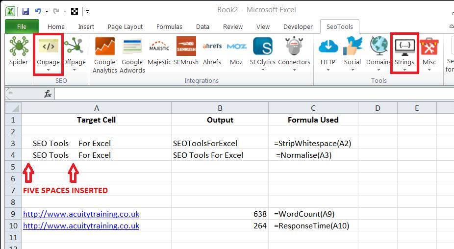 Appendix 4 - SEO Tools For Excel - Shot 3 Simple Examples