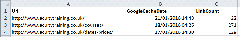 Appendix 4 - SEO Tools For Excel - Shot 5 Spider Output