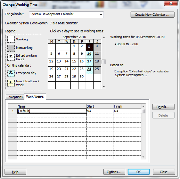 Additional Changing Working Time Screenshot in Microsoft Project