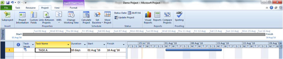 Gantt chart in Microsoft Project