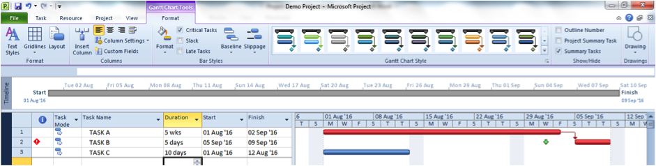 Critical task screenshot for Microsoft Project