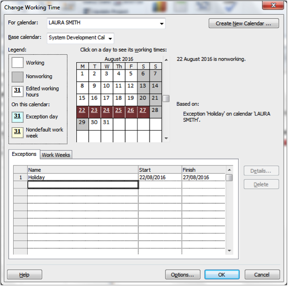 Calendar being edited for holiday screenshot in Microsoft Project