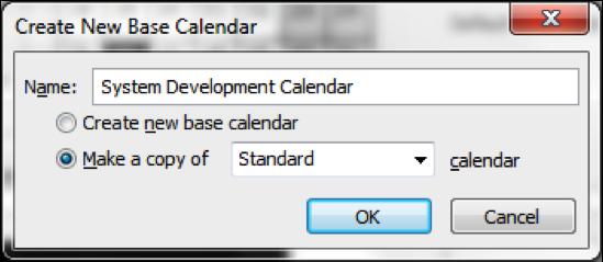Create New Base Calendar Screenshot in Microsoft Project
