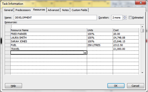 Detailed costings for a task in Microsoft Project