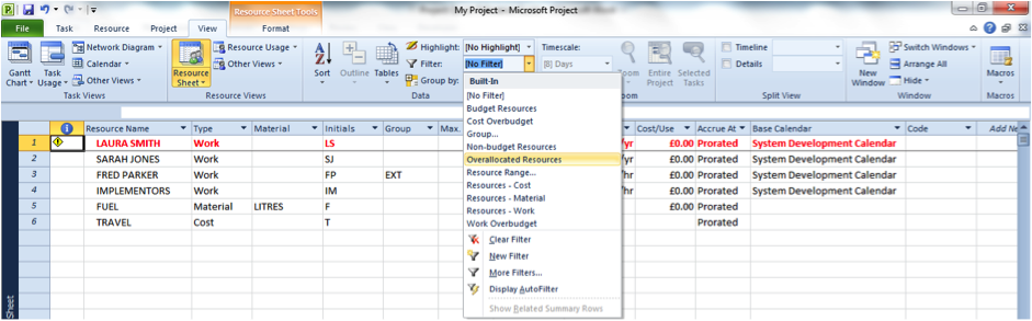 Using the Overallocated Resources filter in Microsoft Project