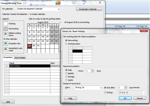 Calendar showing 'Details For Bank Holiday' in Microsoft Project