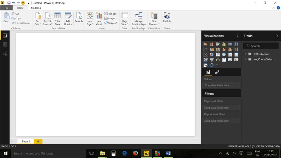 Ch 1 - 5 - Excel Power BI - Opening Window