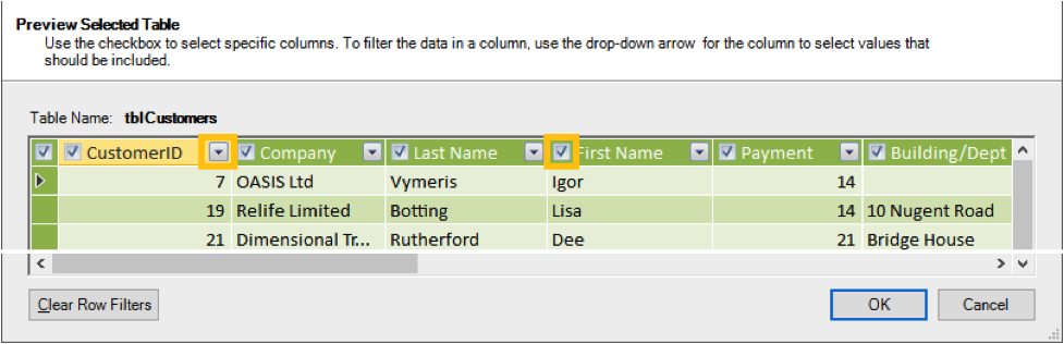 Ch 2 - 5 - Excel PowerPivot Preview Selected Table Image