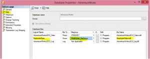 Setting Up A Database Filegroup in GUI Image 2