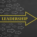 Large bright arrow containing leadership
