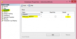 Setting Up A Filegroup in GUI Image 1