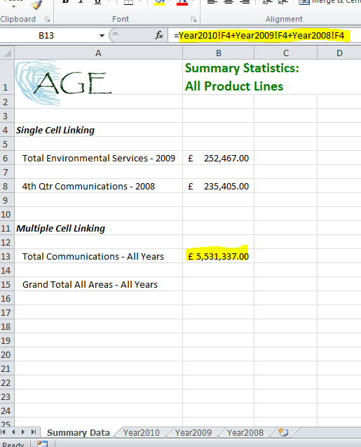 Linking multiple sheets