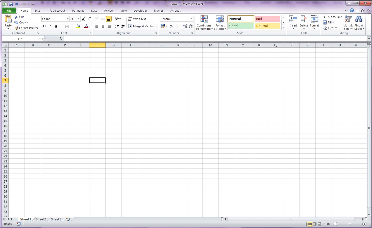 Excel screen