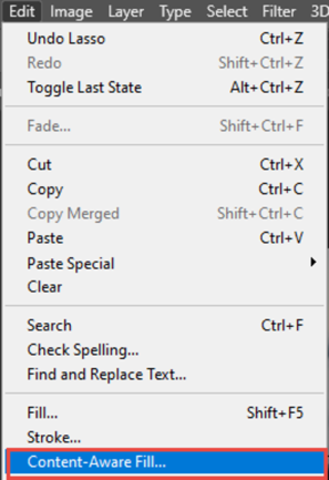 Selecting Content-Aware Mode In Photoshop CC 2020