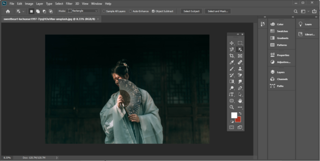 The Photoshop toolbar configured to float.
