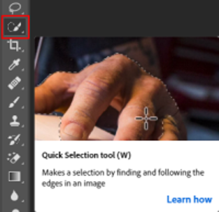 The helpful video that Photoshop shows for tools