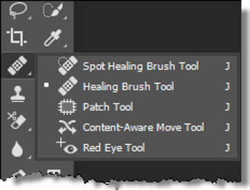 Menu Of Image Touch Up Tools
