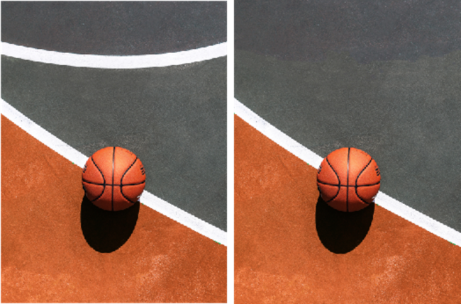 Before and After using the spot healing tool in Photoshop