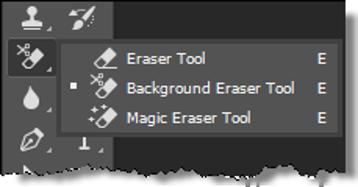 The Eraser Tool Menu