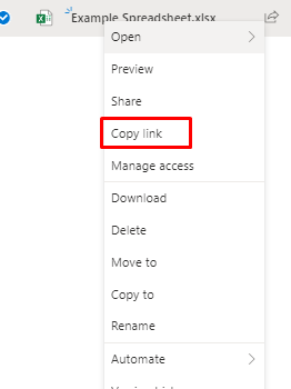 OneDrive - Selecting Copy Link when creating a shareable link