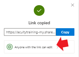 Selecting the 'anyone with the link can edit' menu in OneDrive