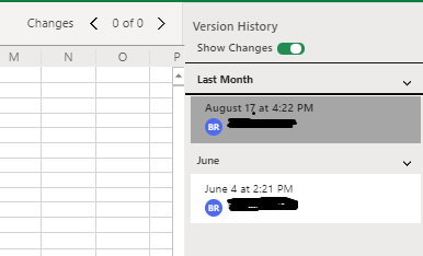 The Version History Righthand Margin In Excel