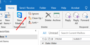 Selecting Ignore In the Home tab of Outlook 365