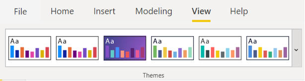 A selection of built in themes in the Power BI view ribbon