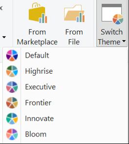 The 'Switch Theme' menu in Power BI's Home ribbonf