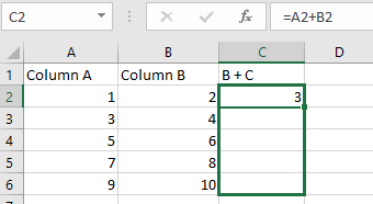 Shows how to drag down to copy the formula