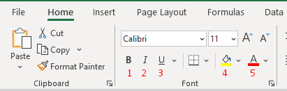 Highlights with numbers the key parts of the font menu