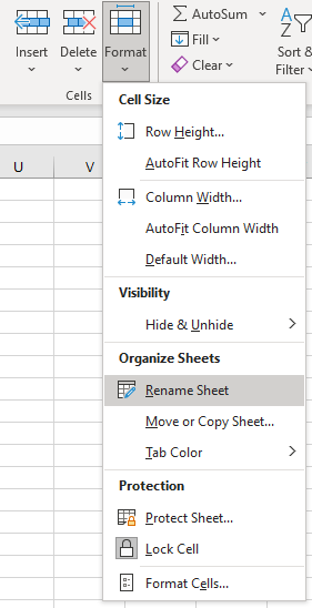Where to find the Rename Sheet option to click