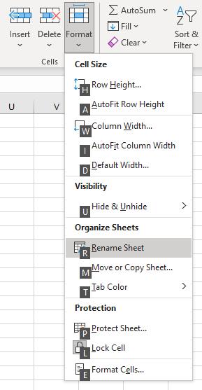 Shows the rename Sheet option using hotkeys