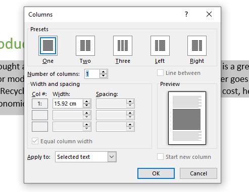 Shows the columns dialog box