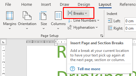 Shows the break button in the layout tab